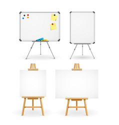 realistic detailed 3d white boards set vector image