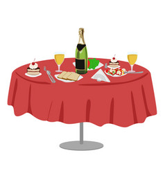 Restaurant or cafe table with bottle of wine vector