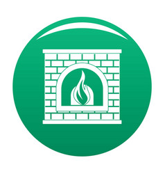 Retro fireplace icon green vector