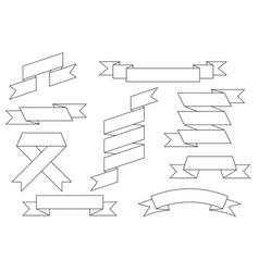 ribbon scrolls set outline drawing vector image