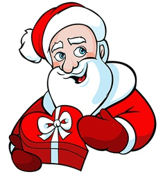 santa claus isolated on white holding gift vector image