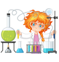 Scientist doing experiment in science lab vector