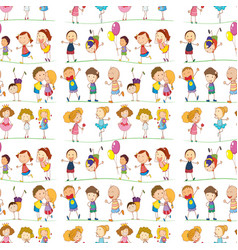 seamless pattern tile cartoon with kids doodles vector image