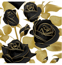 seamless pattern with black roses and golden leaf vector image