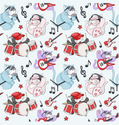 seamless pattern with cute cartoon musican kittens vector image