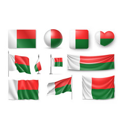 Set madagascar flags banners banners symbols vector
