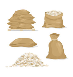 set of rice in bags and rice vector image