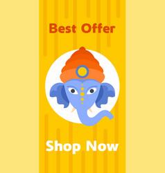 shopping ganesh chaturthi banner vertical flat vector image