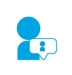 silhouette avatar man social user with chat bubble vector image