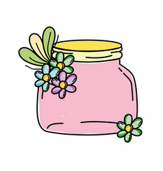 small mason glass with flowers and leaves vector image