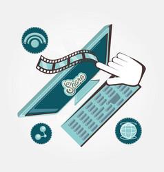 social media marketing with computer vector image