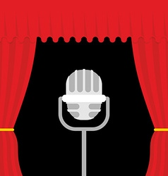 Stage with red curtain and retro microphone Open vector image