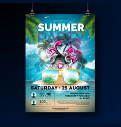 summer beach party flyer design with flower beach vector image