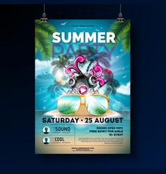 Summer beach party flyer design with flower beach vector