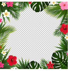summer poster with tropical flowers and leaves vector image