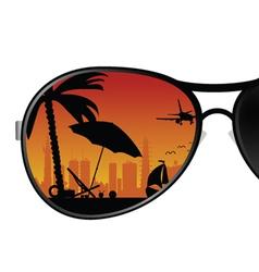 Sunglass with beach items color vector