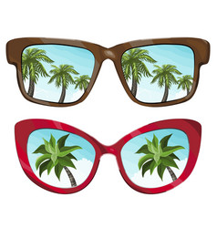 sunglasses reflecting tropical palm vector image