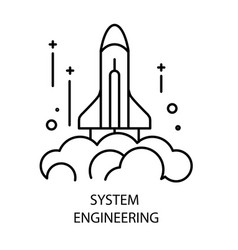 system engineering and rocket launch isolated vector image