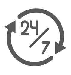 twenty four hour glyph icon open and service 24 vector image