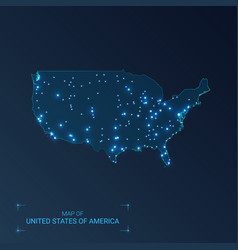 United states america map with cities luminous vector