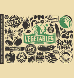 vegetables design elements and symbols vector image