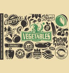 Vegetables design elements and symbols vector