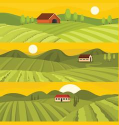 Vineyard wine banner horizontal set flat style vector