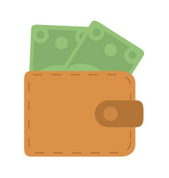 wallet with banknotes money in flat style isolated vector image