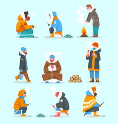 Warmly dressed men fishing in a frozen river or vector