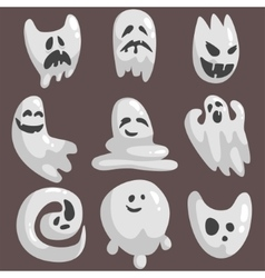 White Ghosts In Childish Cartoon Manner Set On vector