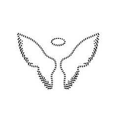 Wings sign black dotted icon vector