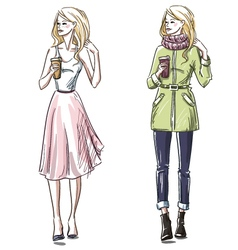 Winter and summer look vector image