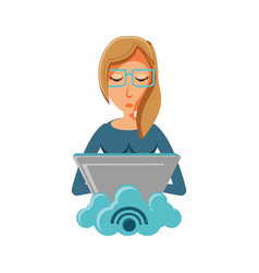woman with laptop and cloud computing vector image