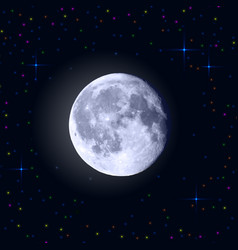 full moon with craters and stars around vector image vector image