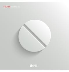 Medicine pill icon - white app button vector image vector image