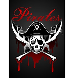 Pirates theme with skull and swords vector