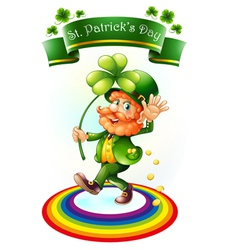 A man with a green hat holding a clover plant vector image vector image