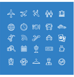 Airport Outline Icon Set vector image vector image