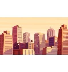 beautiful sunset over cartoon city vector image vector image