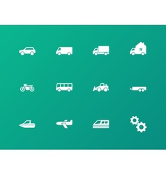 Cars and Transport icons on green background vector image vector image