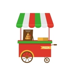 Cart of Pizza Isolated vector image vector image