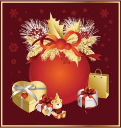 christmas ball in red colors vector image vector image
