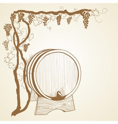grapevine and barrel vector image vector image