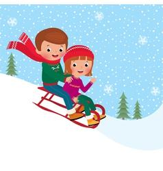 Kids sledding vector image