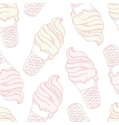 Twisted ice cream in a waffle cone Stylized vector image