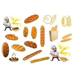 Bakers and isolated baguettes vector image vector image