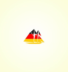 Clippers silhouette in colour of german flag vector image