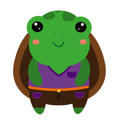 cute green turtle cartoon kawaii animal character vector image