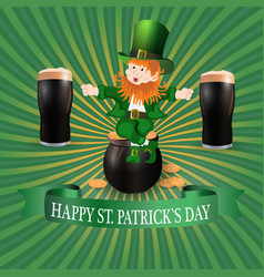 image leprechaun and two glasses of dark beer vector image