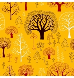 Autumn Pattern with silhouettes of trees vector image